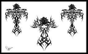 top 10 gothic tribal rose cross tattoo designs design