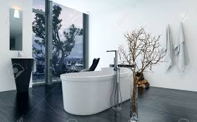 modern design bathroom interior with a luxury freestanding bathtub