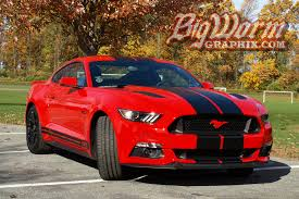 Blue Mustang Black Stripes 2015 17 Mustang Wide Dual Full Length Stripes From Big Worm Graphix