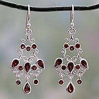 Garnet Chandelier Earrings Garnet Chandelier Earrings Unique Garnet Earrings At Novica