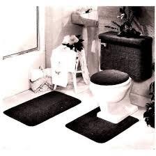 Black Bathroom Rug 5 Bath Rug Contour Lid Tank Lid Tank Cover Set Black