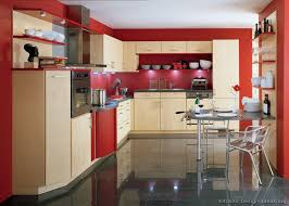 in love with this romantic red kitchen modern light wood kitchen