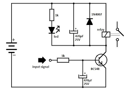 transistorrelaydrivercircuit is using the npn transistor bc 548