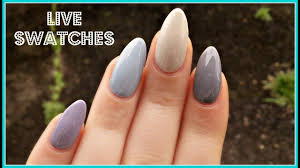 bluesky grey swatches on natural nails youtube