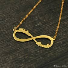 infinity pendant necklace images Wholesale personalized infinity necklace embossed letters jpg
