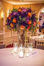 Purple Flowers Centerpieces by Best 20 Orange Purple Wedding Ideas On Pinterest Plum Wedding