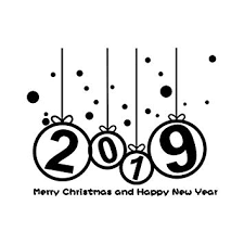 Happy New Year 2019 Merry Christmas Tree Wall Sticker Home Shop