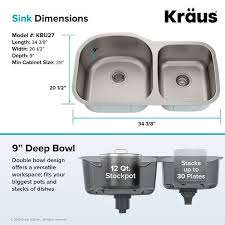 what size undermount sink for a 30 inch cabinet kraus premier stainless steel 35 inch 2 bowl undermount