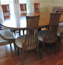 mid century thomasville dining table and eight chairs ebth