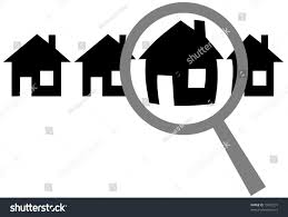 home inspection logo design magnifying glass finds selects inspects home stock vector 15907291