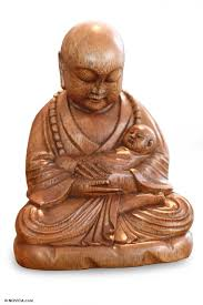 carved wood sculpture buddha with a baby novica