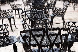 Patio Wrought Iron Furniture by Wrought Iron Furniture On The Outdoor Cafe Patio Stock Photo