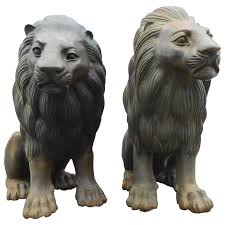 lion statues pair of bronze lion statues for sale at 1stdibs