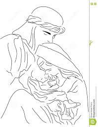baby jesus mary and joseph christmas line art illustration