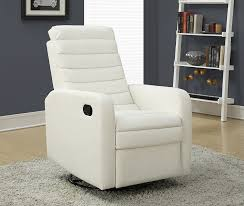 real leather swivel recliner chairs amazon com monarch specialties white bonded leather swivel glider