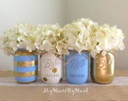 Home Decor Centerpieces Rustic Home Decor Blue Polka Dot Mason Jar Centerpieces Baby
