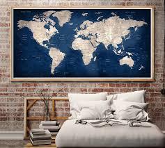 World Map Poster Large Large World Map Wall Art World Map Poster World Map Decal World