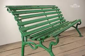 salvaged green strap garden bench the period garden pinterest