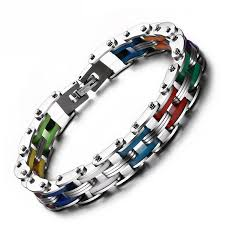 stainless steel bracelet clasps images Rainbow stainless steel clasp bike chain bracelet diyosworld jpg