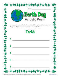 earth day acrostic poem worksheet 1st 2nd 3rd grade