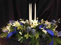 Christmas Centerpiece Images - blue christmas centerpiece with candle williamsburg floral