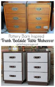 trunk style bedside tables pottery barn inspired trunk bedside table themed furniture