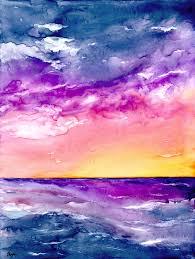 original sunset storm seascape watercolour painting on yupo but