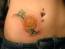 sunflower belly tattoo design for girls tattoos book