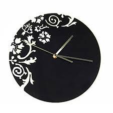 wall watch black acrylic designer flower pattern wall clock brain tag india