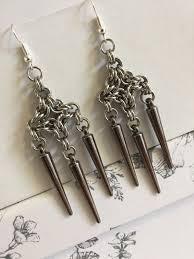 gunmetal chandelier earrings steel chandelier earrings antique black spike earing byzantine