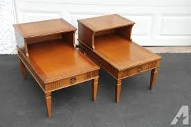 solid cherry wood end tables pair vintage provincial style step end table solid cherry wood for