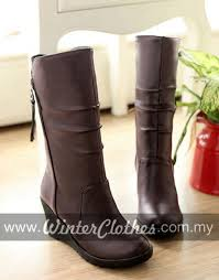 buy winter boots malaysia s pu leather wedge heel lining winter boots