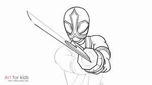draw red ranger power rangers samurai step step