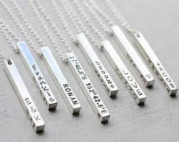 personalized silver bar necklace silver bar necklace etsy