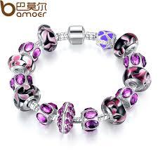 murano glass beads bracelet silver images European style silver charm bracelet purple murano glass beads jpg