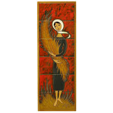 hand painted ceramic tile art of woman holding wheat sheaf for