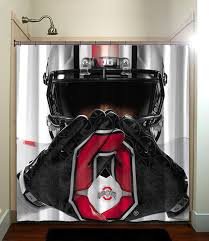 Ohio State Curtains Ohio State Buckeye White Collage Football Ncaaf Shower Curtain