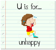 flashcard letter u is for unhappy illustration royalty free