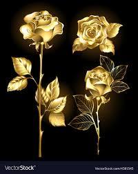 golden roses set of golden roses royalty free vector image vectorstock