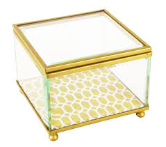 gold metal and glass trellis box