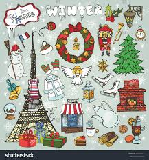 New Year Decoration Elements by Paris Christmasholidaywinter Doodle Symbolseiffel Tower Hand Stock