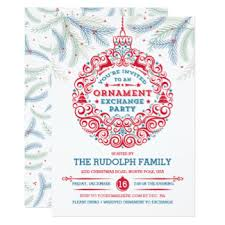 ornament exchange invitations announcements zazzle
