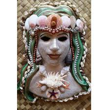 wall masks mermaid goddess venetian wall mask with shells and pearls