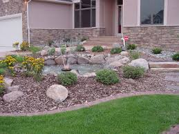 front yard rock landscaping with fountain rocky yard will please