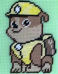cross stitch paw patrol rubble by marcelle powell plastic
