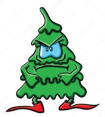 angry cartoon christmas tree u2014 stock vector giinger 17008341