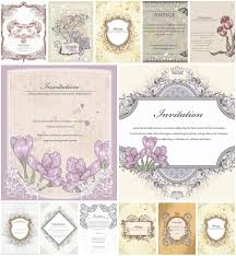 Invitation Cards Free Download Vintage Invitation Card Set Vector Free Download