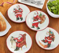 painted santa melamine salad plates mixed set of 4 pottery barn