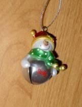 silver personalized jingle bell snowman ornament