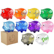 personalised piggy bank kids gift personalised clear piggy bank money box coins children